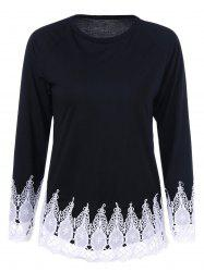 Jewel Neck T-Shirt with Lace Trim -