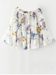 Flare Sleeve Off Shoulder Floral Pattern Blouse - WHITE S