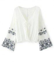 V Neck Embroidered Surplice Blouse -