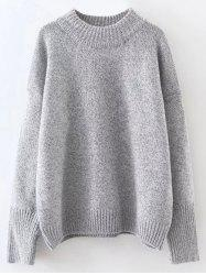 Mock Neck Drop Shoulder Pullover Sweater -