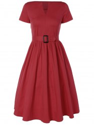 Plus Size Midi Pin Up Skater Dress - RED 4XL