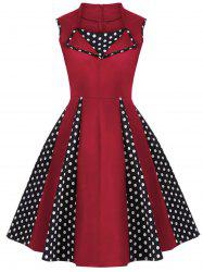 Vintage Polka Dot Sleeveless Knee Length Swing Dress - RED 4XL