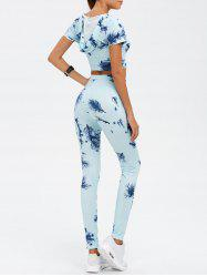Hooded Crop Top and Printed Pants Twinset - CLOUDY
