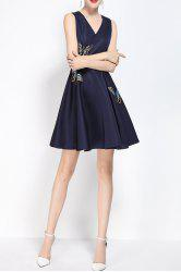V Neck Embroidered Fit and Flare Dress