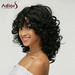 Curly Capless Shaggy Black Vogue Medium Heat Resistant Fiber Wig For Women