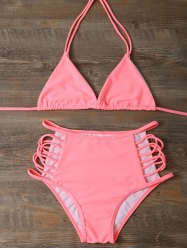 Halter Cutout High Waisted Triangle Bikini Set