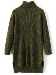 Turtle Neck High Low Heathered Sweater - GREEN