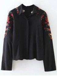 Flower Embroidered Cropped Shirt -