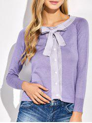 Button Up Bowknot Cardigan -