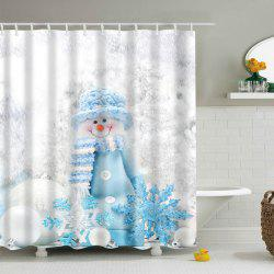 Polyester Waterproof Winter Snowman Bath Shower Curtain