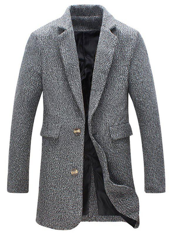 Store Heathered Flap Pocket Wool Blend Two Button Coat