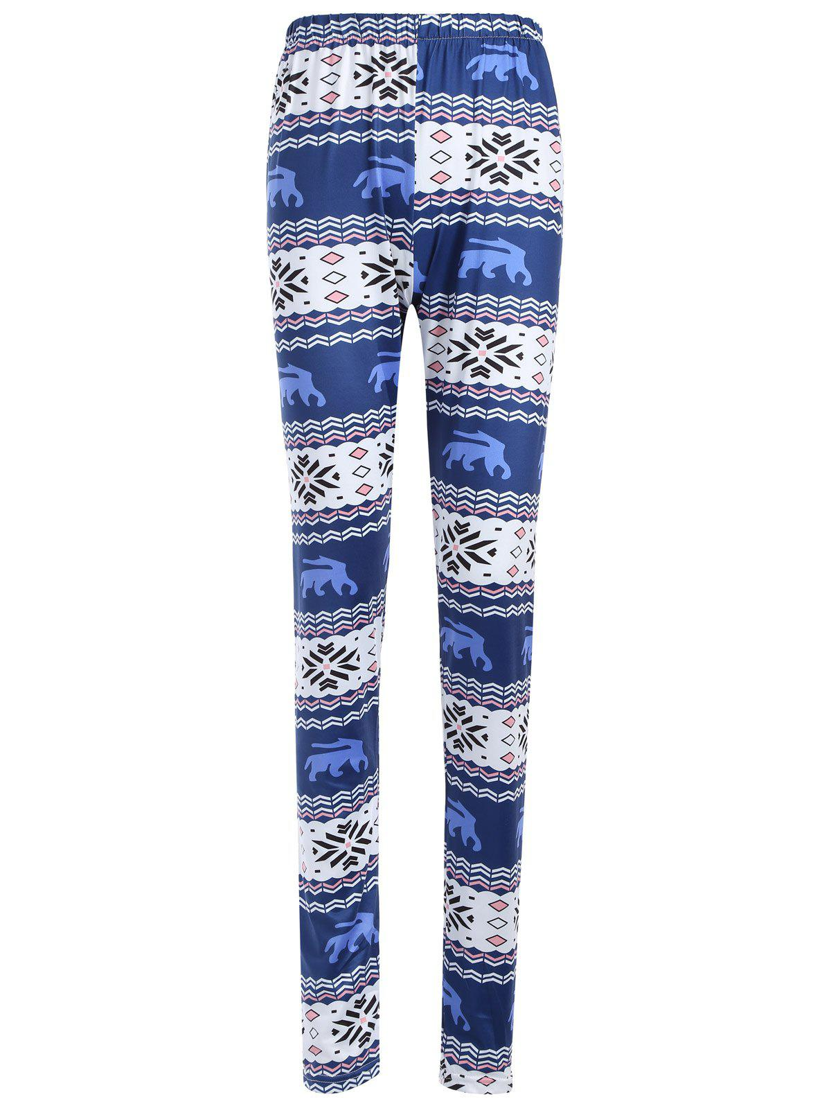 Affordable Skinny Geometric Print Christmas Leggings