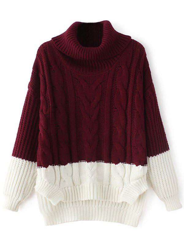 Online High-Low Color Block Cowl Neck Sweater