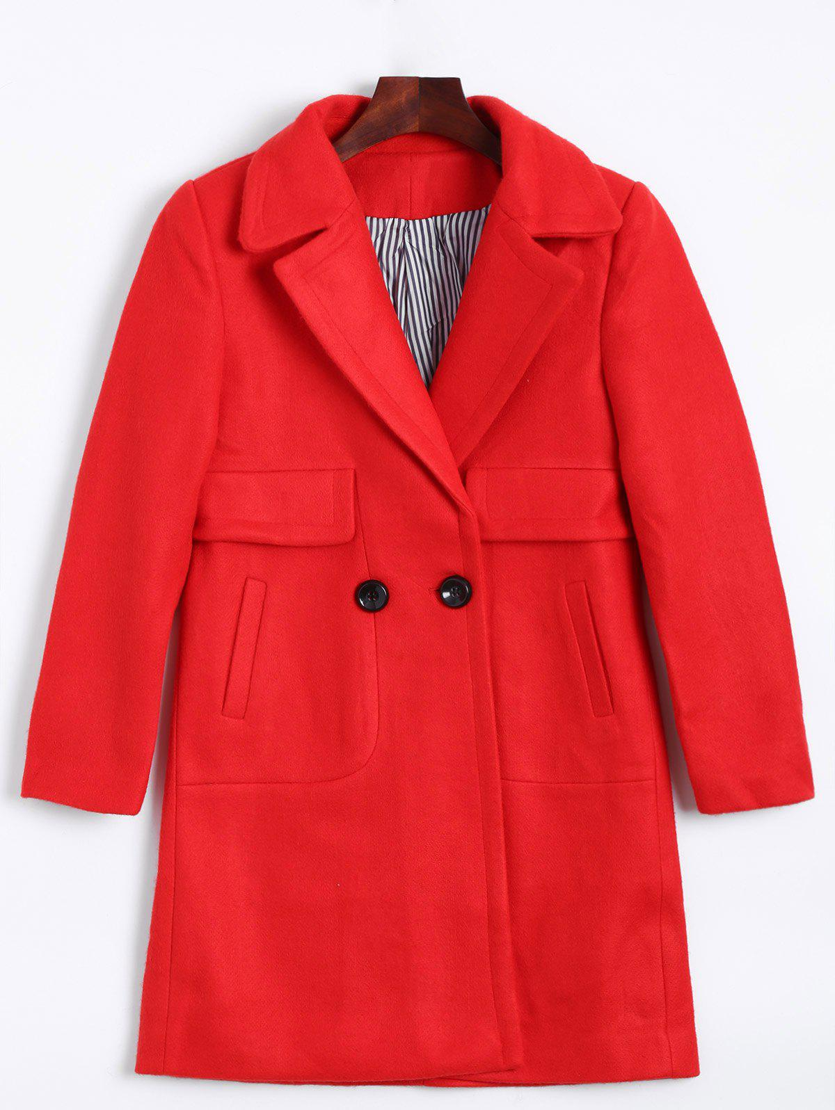 Online Lapel Two Buckle Plus Size Wool Coat