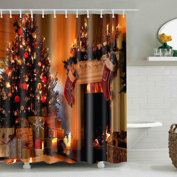 Merry Christmas Printed Mouldproof Waterproof Shower CurtainHOME<br><br>Size: W71 INCH * L71 INCH; Color: GOLD BROWN; Type: Shower Curtains; Material: Polyester; Weight: 0.5400kg; Package Contents: 1 x Shower Curtain;