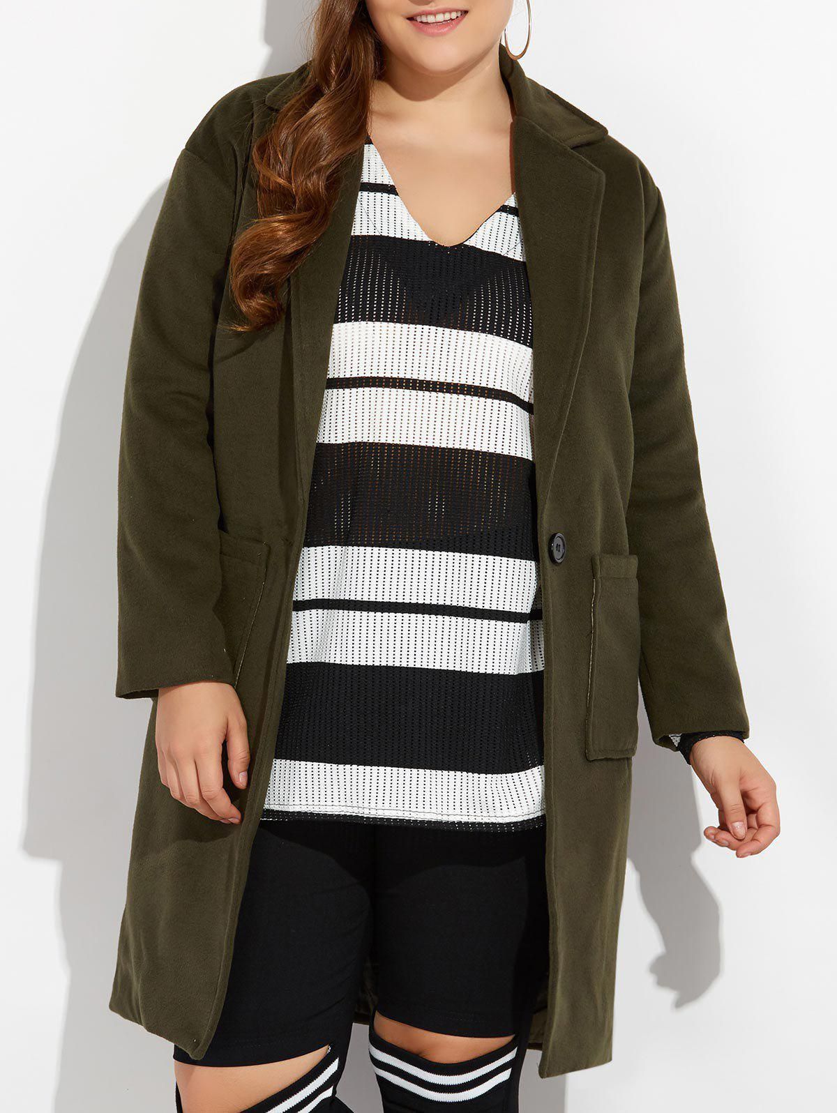 Latest Plus Size Long Wool Coat with Pockets