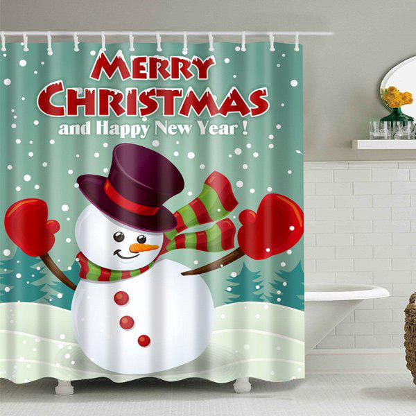 Merry Christmas Waterproof Snowman Shower CurtainHOME<br><br>Size: L; Color: BLUE GREEN; Type: Shower Curtains; Material: Polyester; Weight: 0.540kg; Package Contents: 1 x Shower Curtain;