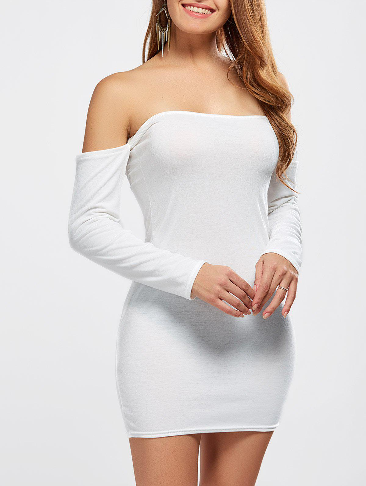 2019 OFF Shoulder Long Sleeve Fitted Tight Mini Dress  c0d4c043b