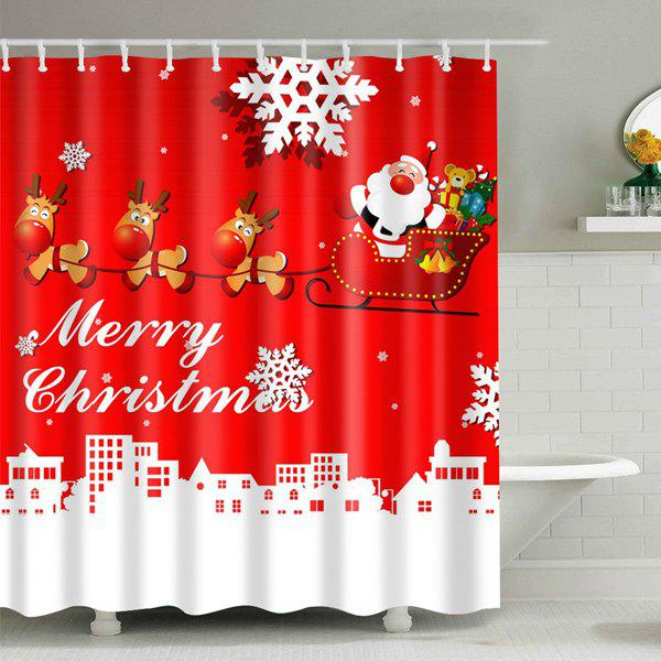 Christmas Santa Coming Polyester Fabric Shower CurtainHOME<br><br>Size: L; Color: RED; Type: Shower Curtains; Material: Polyester; Weight: 0.540kg; Package Contents: 1 x Shower Curtain;