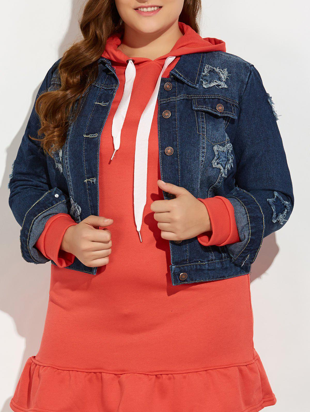 Plus Size Buttoned Star Graphic Jean JacketWOMEN<br><br>Size: 5XL; Color: BLUE; Clothes Type: Jackets; Material: Jeans; Type: Slim; Shirt Length: Regular; Sleeve Length: Full; Collar: Turn-down Collar; Pattern Type: Star; Embellishment: Pockets; Style: Streetwear; Season: Fall,Spring; Weight: 0.720kg; Package Contents: 1 x Jacket;