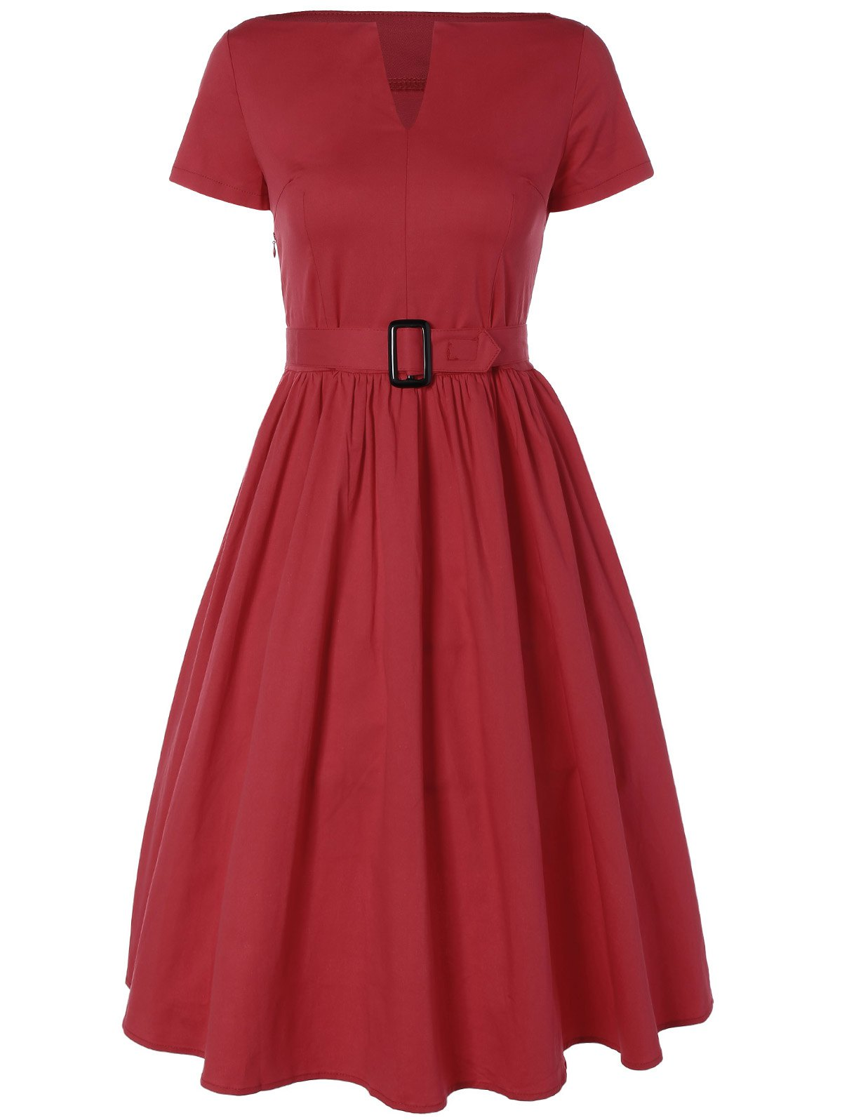 Plus Size Midi Pin Up Skater DressWOMEN<br><br>Size: 3XL; Color: RED; Style: Vintage; Material: Polyester; Silhouette: A-Line; Dresses Length: Mid-Calf; Neckline: V-Neck; Sleeve Length: Short Sleeves; Pattern Type: Solid; With Belt: Yes; Season: Summer; Weight: 0.350kg; Package Contents: 1 x Dress  1 x Belt;