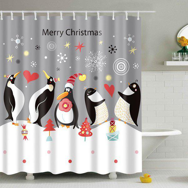Waterproof Penguin Printed Bath Christmas Shower CurtainHOME<br><br>Size: L; Color: GREY AND WHITE; Type: Shower Curtains; Material: Polyester; Weight: 0.540kg; Package Contents: 1 x Shower Curtain;