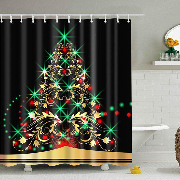 Waterproof Xmas Tree Bath Christmas Shower CurtainHOME<br><br>Size: S; Color: BLACK; Type: Shower Curtains; Material: Polyester; Weight: 0.540kg; Package Contents: 1 x Shower Curtain;