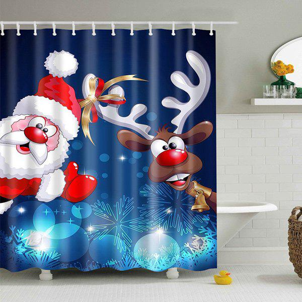 Image of Polyester Waterproof Xmas Santa Elk Christmas Shower Curtain