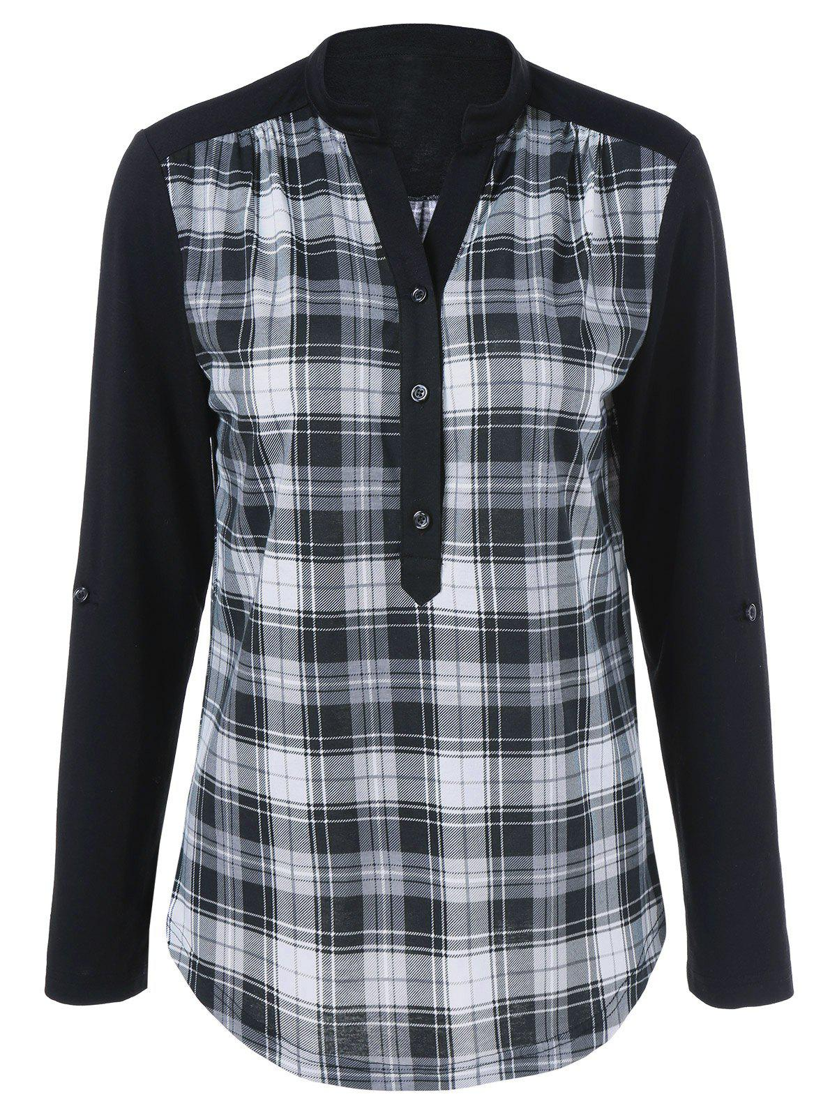 Plaid Trim Single Breasted T-ShirtWOMEN<br><br>Size: 4XL; Color: CHECKED; Material: Polyester,Spandex; Shirt Length: Regular; Sleeve Length: Full; Collar: Stand-Up Collar; Style: Casual; Season: Fall,Spring; Pattern Type: Plaid; Weight: 0.370kg; Package Contents: 1 x T-Shirt;