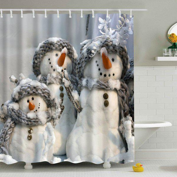 Snowman Printed Fabric Waterproof Shower CurtainHOME<br><br>Size: L; Color: GRAY; Type: Shower Curtains; Material: Polyester; Weight: 0.5400kg; Package Contents: 1 x Shower Curtain;