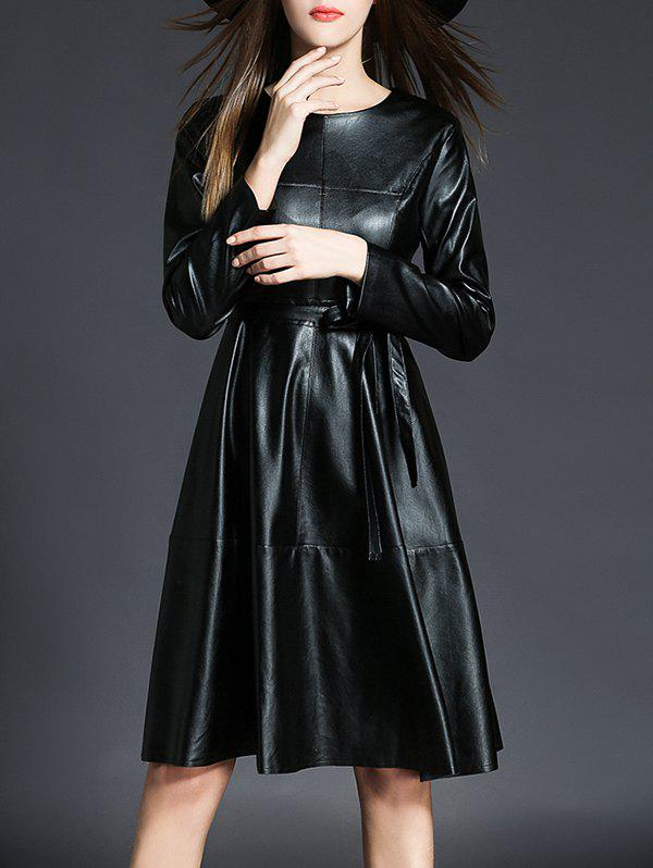 Outfits PU Leather Long Sleeve A Line Dress With Belt