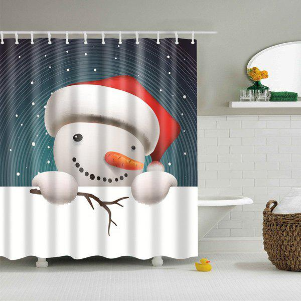 Snowman Print Merry Christmas Cartoon Shower CurtainHOME<br><br>Size: L; Color: COLORMIX; Type: Shower Curtains; Material: Polyester; Weight: 0.540kg; Package Contents: 1 x Shower Curtain;