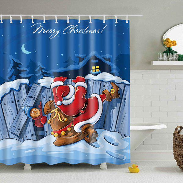 Christmas Waterproof Polyester Bath CurtainHOME<br><br>Size: L; Color: BLUE; Type: Shower Curtains; Material: Polyester; Weight: 0.540kg; Package Contents: 1 x Shower Curtain;