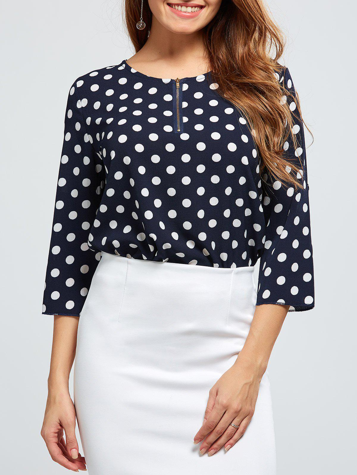 Outfits Polka Dot Half Zip T-Shirt