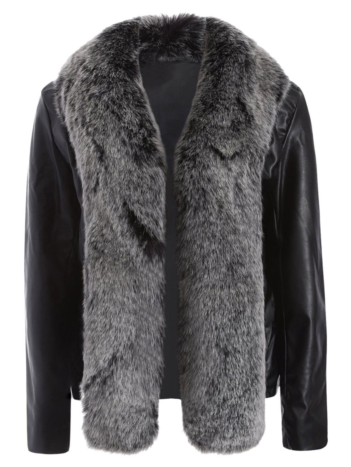 Discount Open Front Faux Leather Jacket with Fur Collar