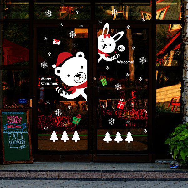 Cartoon DIY Bear Rabbit Window Decor Christmas Wall StickersHOME<br><br>Color: WHITE; Wall Sticker Type: Plane Wall Stickers; Functions: Decorative Wall Stickers; Theme: Christmas; Material: PVC; Feature: Removable; Size(L*W)(CM): 60*90; Weight: 0.375kg; Package Contents: 1 x Wall Stickers;