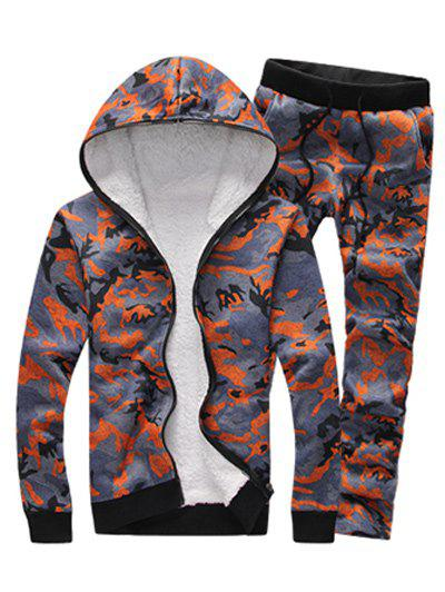 Shops Camouflage Zip Up Flocking Hoodie and Pants Twinset