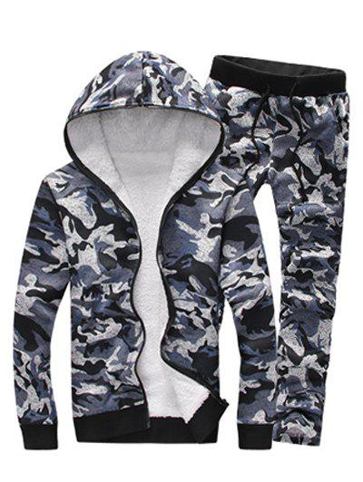 Latest Camouflage Zip Up Flocking Hoodie and Pants Twinset