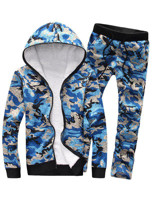 Shop Camouflage Zip Up Flocking Hoodie and Pants Twinset