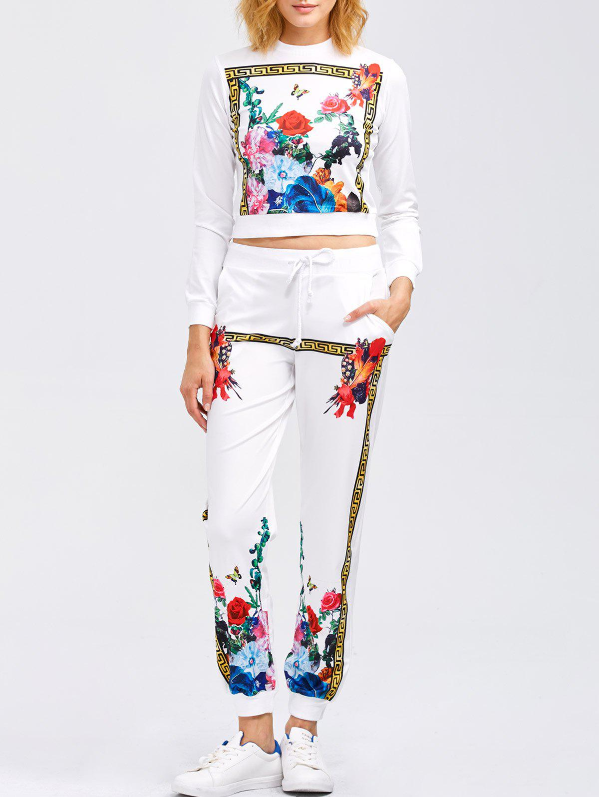 Flower Print Sweatshirt and Jogger PantsWOMEN<br><br>Size: L; Color: WHITE; Style: Fashion; Length: Normal; Material: Polyester; Fit Type: Regular; Waist Type: Mid; Closure Type: Drawstring; Pattern Type: Floral; Pant Style: Pencil Pants; Weight: 0.445kg; Package Contents: 1 x Sweatshirt 1 x Pants;
