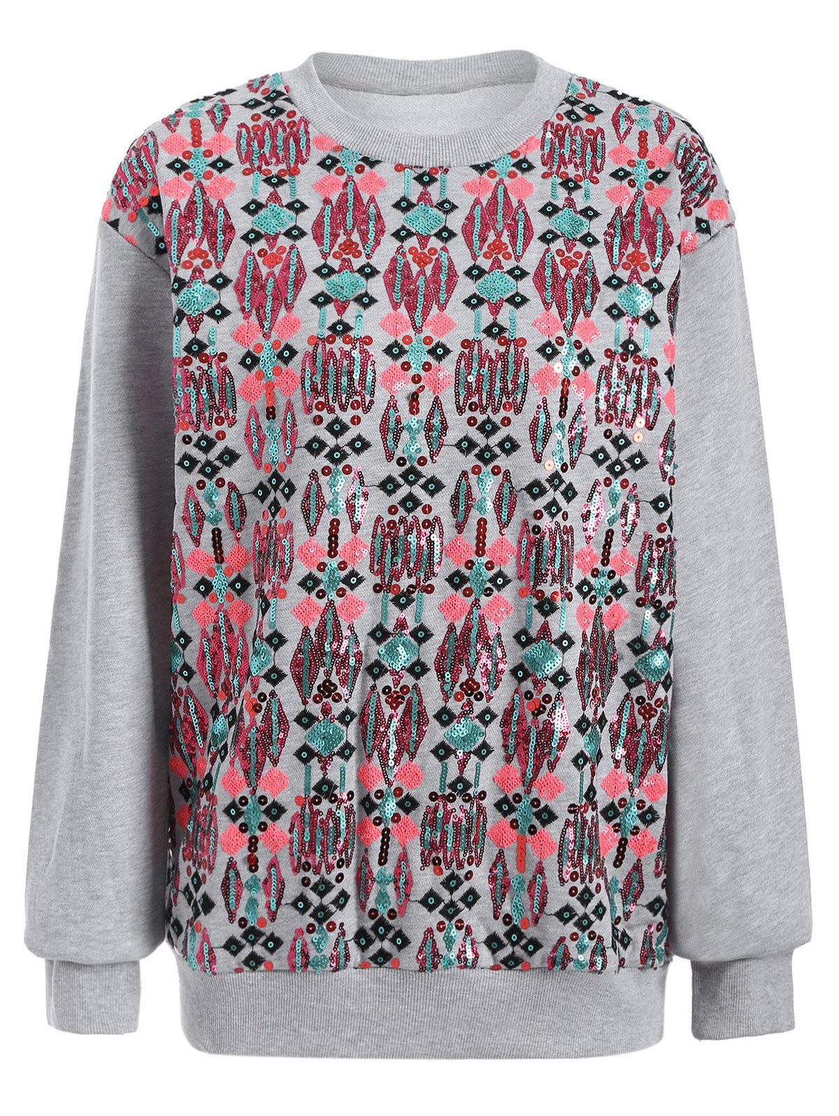 Trendy Sequined Embroidered Loose Sweatshirt