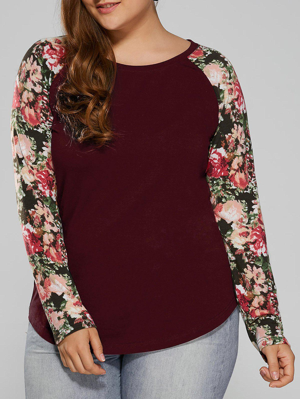 Plus Size Floral Raglan Full Sleeve T-ShirtWOMEN<br><br>Size: 2XL; Color: DARK RED; Material: Cotton Blends,Polyester; Shirt Length: Long; Sleeve Length: Full; Collar: Round Neck; Style: Casual; Season: Fall,Spring; Pattern Type: Floral; Weight: 0.370kg; Package Contents: 1 x T-Shirt;