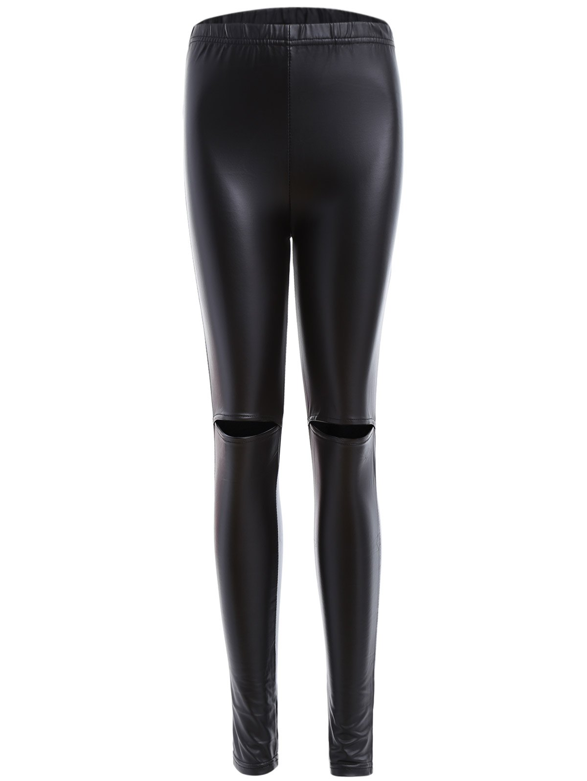 Online Ripped PU Leather Leggings