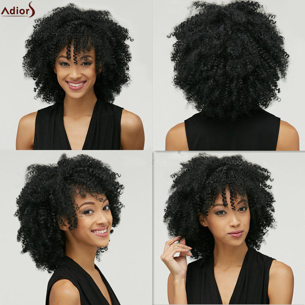 Adiors Fashion Medium Capless Fluffy Afro Curly Heat Resistant Fiber Wig For WomenHAIR<br><br>Color: BLACK; Type: Full Wigs; Cap Construction: Capless; Style: Curly; Material: Synthetic Hair; Bang Type: None; Length: Medium; Length Size(CM): 34; Weight: 0.211kg; Package Contents: 1 x Wig;