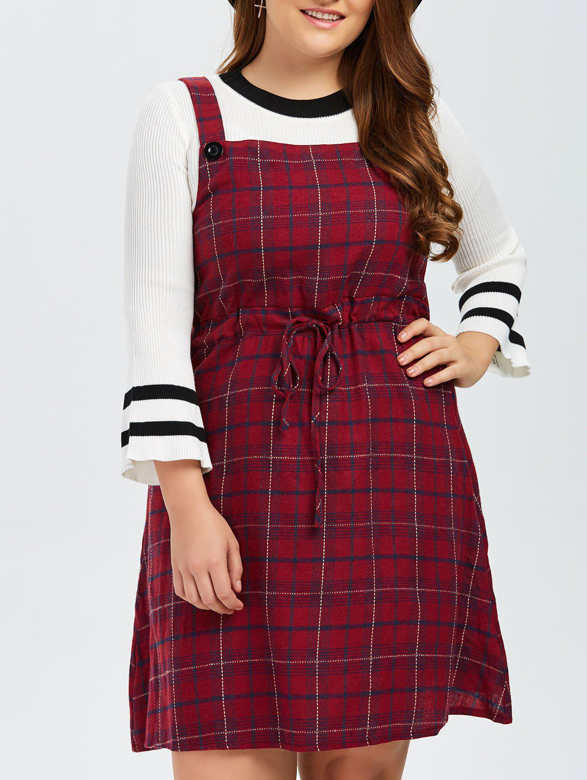 Plus Size Plaid Pinafore Dress