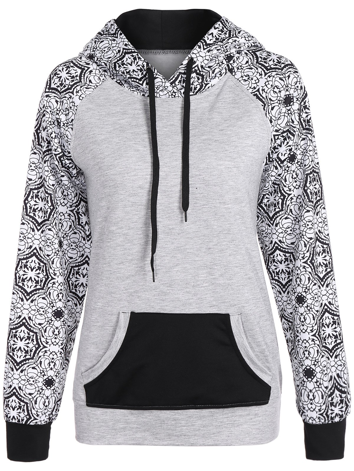 Affordable Casual Drawstring Tribal Print Hoodie