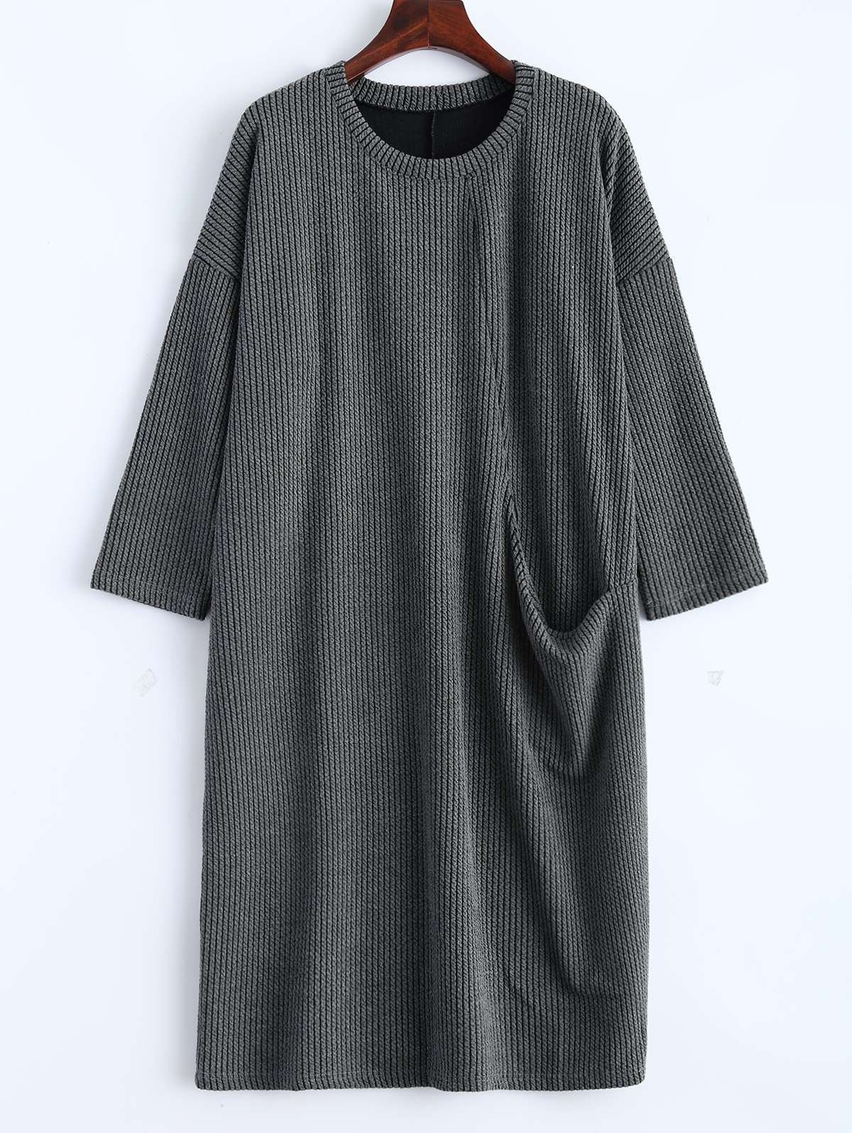 Chic Drop Shoulder Ribbed Jumper Dress with Pockets
