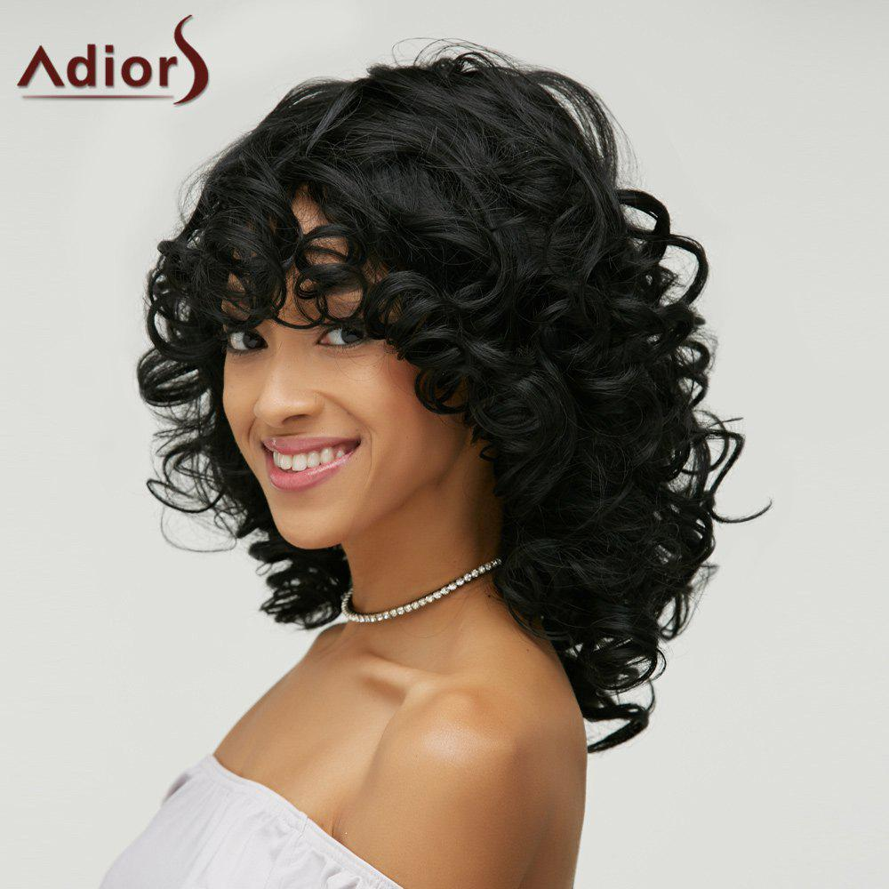 Curly Capless Shaggy Black Vogue Medium Heat Resistant Fiber Wig For WomenHAIR<br><br>Color: BLACK; Type: Full Wigs; Cap Construction: Capless; Style: Curly; Material: Synthetic Hair; Bang Type: Side; Length: Medium; Length Size(CM): 40; Weight: 0.270kg; Package Contents: 1 x Wig;