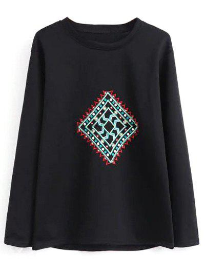 Store Crew Neck Geometric Embroidered Sweatshirt