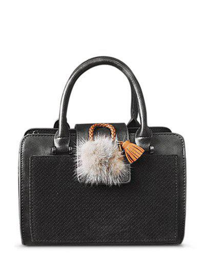New Suede Panel Pompon PU Leather Handbag